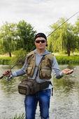 Man fishing — Stock Photo