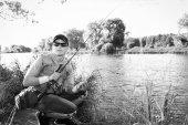 Człowiek połowów — Zdjęcie stockowe