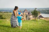 Mom and son on the ancient path — Stock Photo