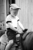 Little boy riding on pony — Foto de Stock