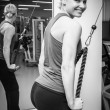 Blonde woman working out with weights — Stock Photo #52962559