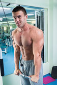 Fit man exercising at the gym. — Stock Photo