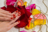 Beautiful hands with a nice manicure — Stock Photo