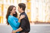 Couple in love, hugging on the street — Stock Photo