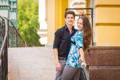 Couple posing on street — Stock Photo