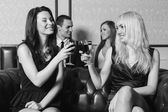 Group of people drink wine — Stock Photo