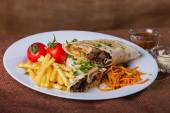 Shawarma with potatoes and vegetables — Stock Photo