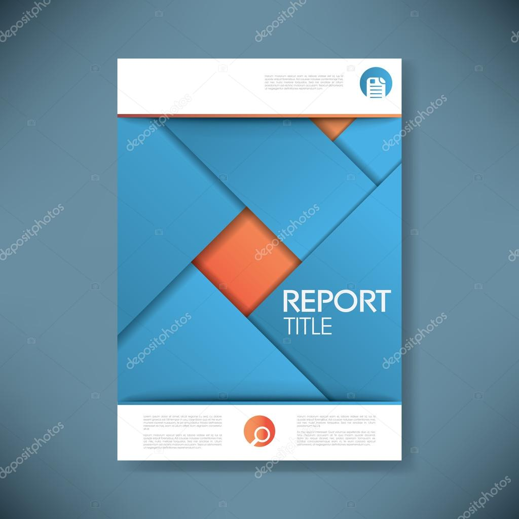 report cover template for business presentation or brochure blue report cover template for business presentation or brochure blue and orange material design style vector