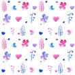 Seamless pattern of pink hearts and floral elements — Stock Vector #55205055