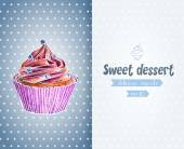 Card template with hand drawn cupcake. — Vetor de Stock