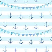Seamless pattern. Anchor and festive flags. — Stock Vector