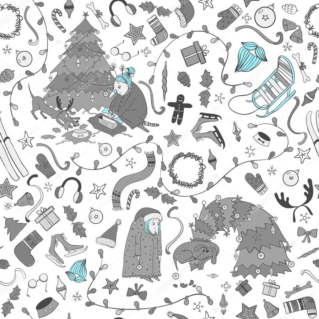 Modèle de Noël sans couture avec mamie de dessin animé et chien, arbre de Noël — Image ...