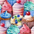 Seamless pattern. Watercolor cupcakes, muffins. — Stock Photo #62900651
