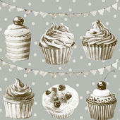 Seamless pattern. Watercolor cupcakes, muffins and festive flags. — Stok fotoğraf