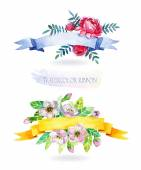 Watercolor ribbon and banner for text. — Stock Photo