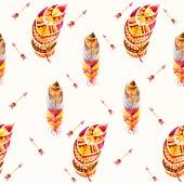 Watercolor seamless ethnic Indian pattern. Pattern with feathers and other tribal elements. — Stock Photo