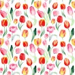 Seamless pattern of watercolor pink, red and yellow tulips. — Stock Photo #65124775
