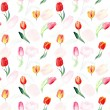 Seamless pattern of watercolor pink, red and yellow tulips. — Stock Photo #65124805
