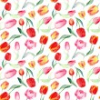 Seamless pattern of watercolor pink, red and yellow tulips. — Stock Photo #65124817