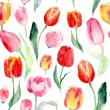 Seamless pattern of watercolor pink, red and yellow tulips. — Stock Photo #65124843