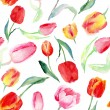 Seamless pattern of watercolor pink, red and yellow tulips. — Stock Photo #65124889