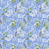 Seamless pattern. Watercolor blue hydrangea, lavender, currant. — Stock Photo