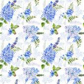 シームレス パターン。水彩青いアジサイ、ラベンダー、スグリ. — ストック写真