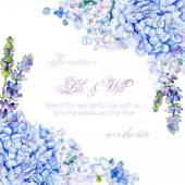 Frame of watercolor blue hydrangea, lavender. — Foto de Stock