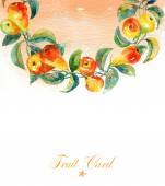 Rama z akwarela żółte gruszki. — Zdjęcie stockowe