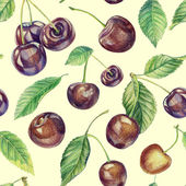 Seamless pattern with cherries. Drawing with colored pencils. — Stock Photo
