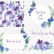 Watercolor floral set templates with irises for your design. — Stock Photo #74737411