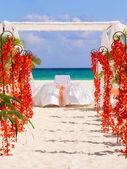 Przygotowania do ślubu na plaży w meksyku — Zdjęcie stockowe
