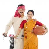 Portrait of a couple with bicycle — Stock Photo