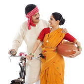 Close-up of a couple with bicycle — Stock Photo