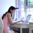 Woman studying on a laptop — Stock Video #59353321