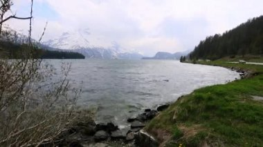 St. Moritz lake in Engadine Valley — Stock Video