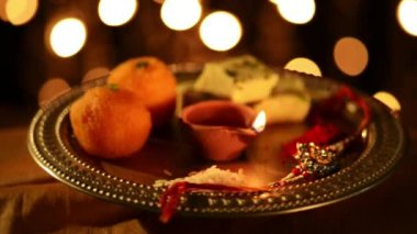 Spinning puja thali — Stock Video