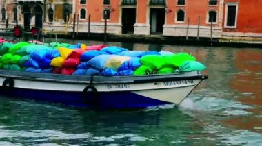 Colorful sacks in a boat — Stock Video