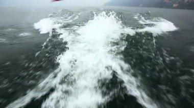 Boat wake in sea — Stock Video