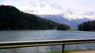 Tracking shot of St. Moritz lake — Stock Video