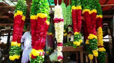 Colorful floral garlands — Stock Video