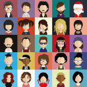 Set of 25 people icons in flat style with faces. — Vettoriale Stock