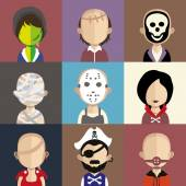 Set of people icons in flat style with faces — Stock Vector