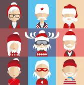 Different Santa icons — Stock Vector