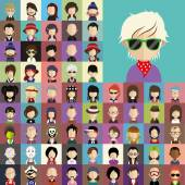 People faces icons — Stock Vector