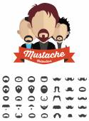Mustache with face icons — Stock Vector