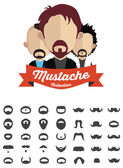 Mustache with face icons — Vecteur