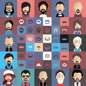 Mustache with face icons — Vettoriale Stock
