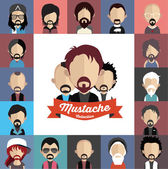 Mustache with face icons — Stockvektor