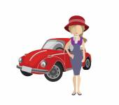 Woman and a car. — Stock Vector